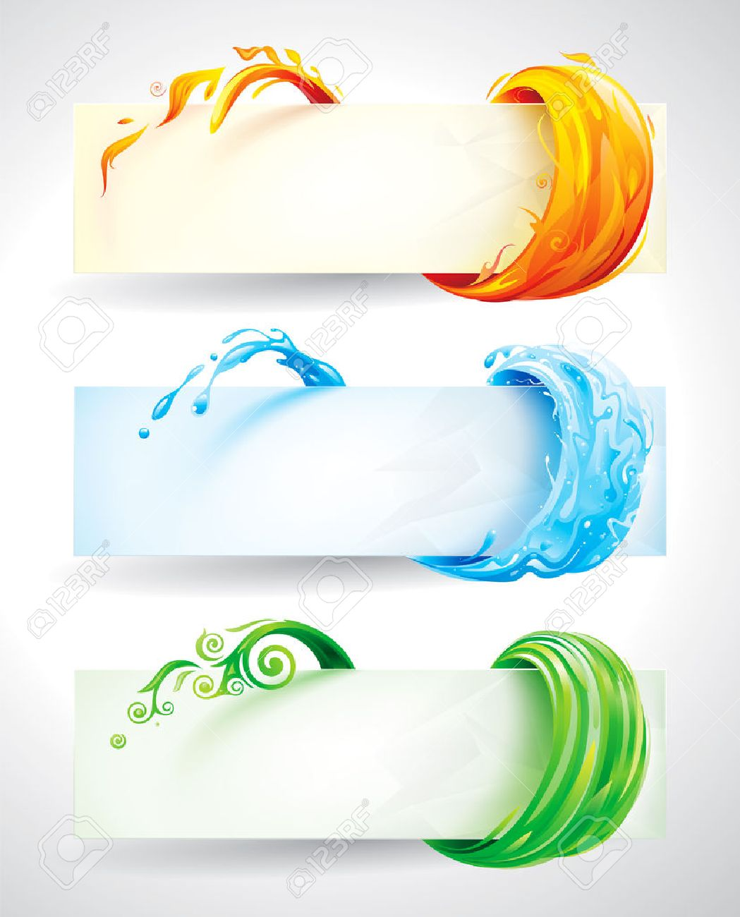 Set of fire, water and green elements banner background. - 31057592