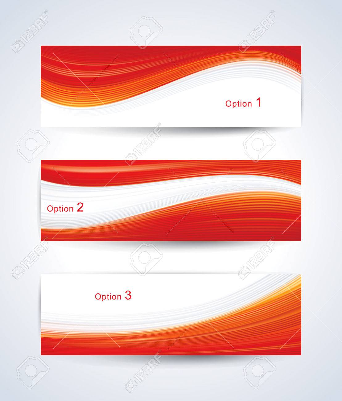 Website banner set with red wave pattern. - 50507397