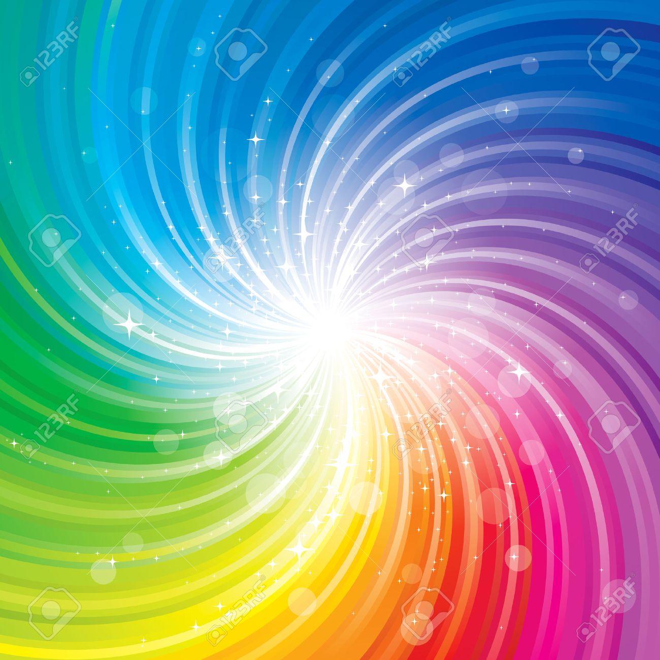 Glittering stars on colorful swirl background. - 50985044