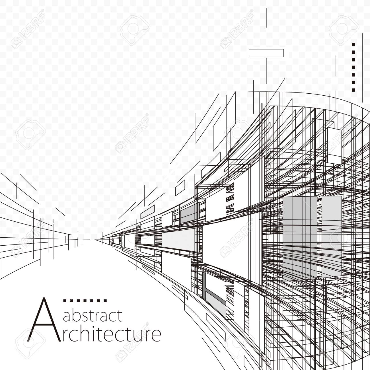 Architecture construction perspective designing black and white abstract background. - 92708576