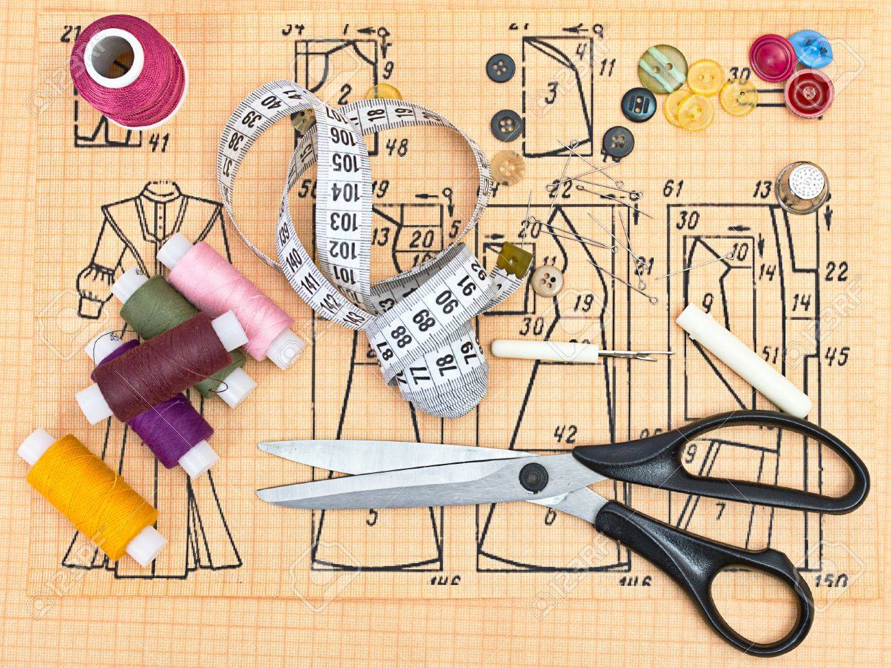 still life various sewing accessories in the scheme Stock Photo - 10538283