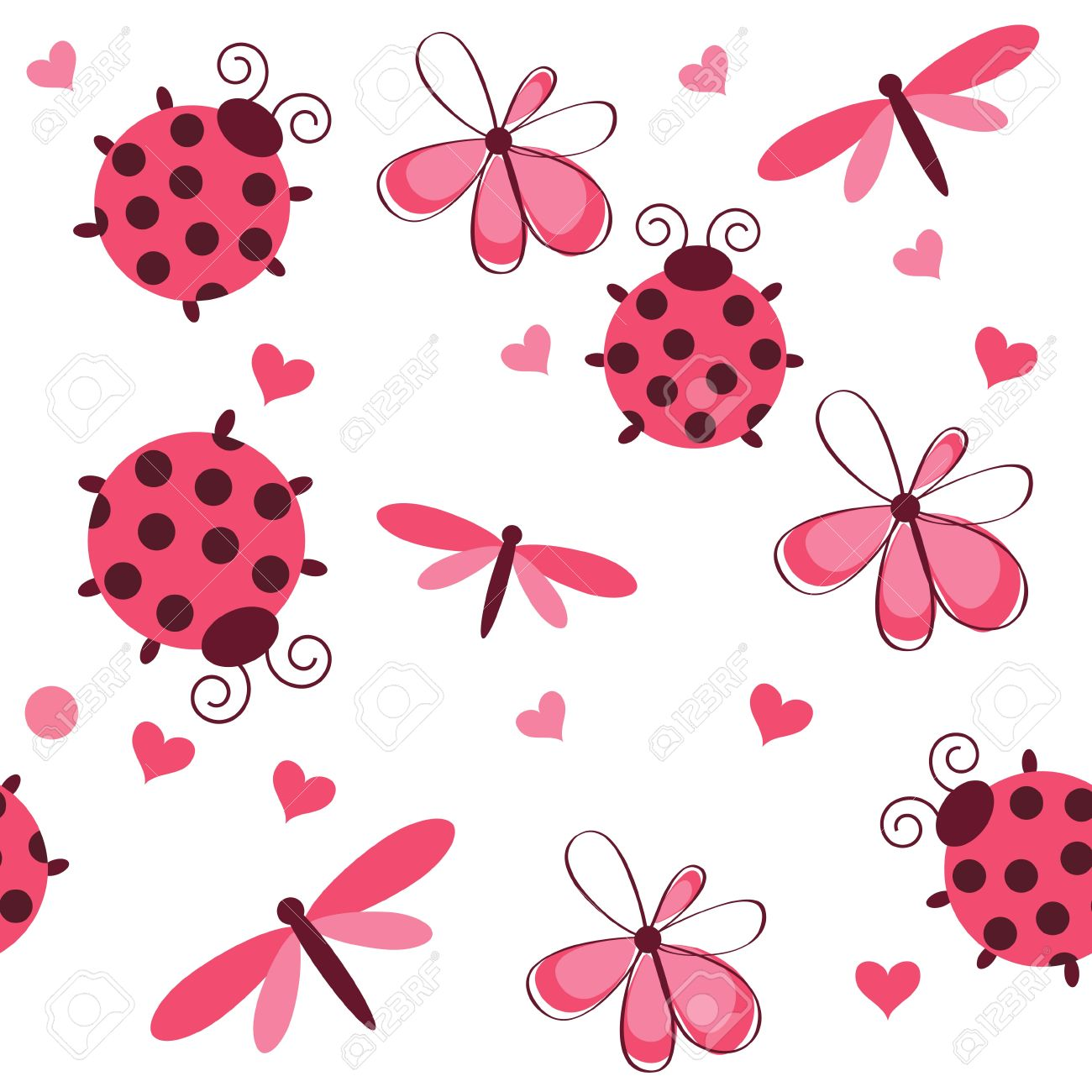 Romantic seamless pattern with dragonflies, ladybugs, hearts and flowers on a white background Stock Vector - 11368184