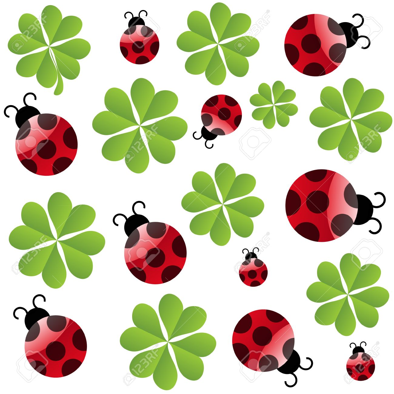 vector clover leaf with ladybird  seamless pattern Stock Vector - 11368188