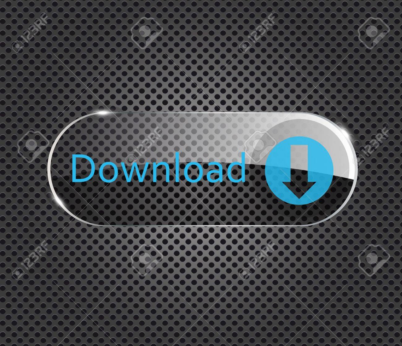 Vector download glass button on metal background Stock Vector - 11368181