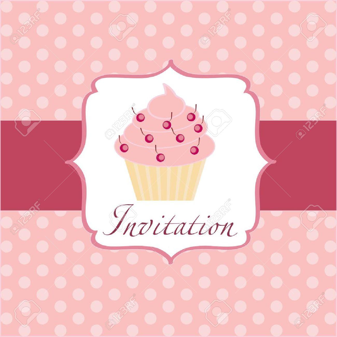 cupcake invitation background Stock Vector - 11368286