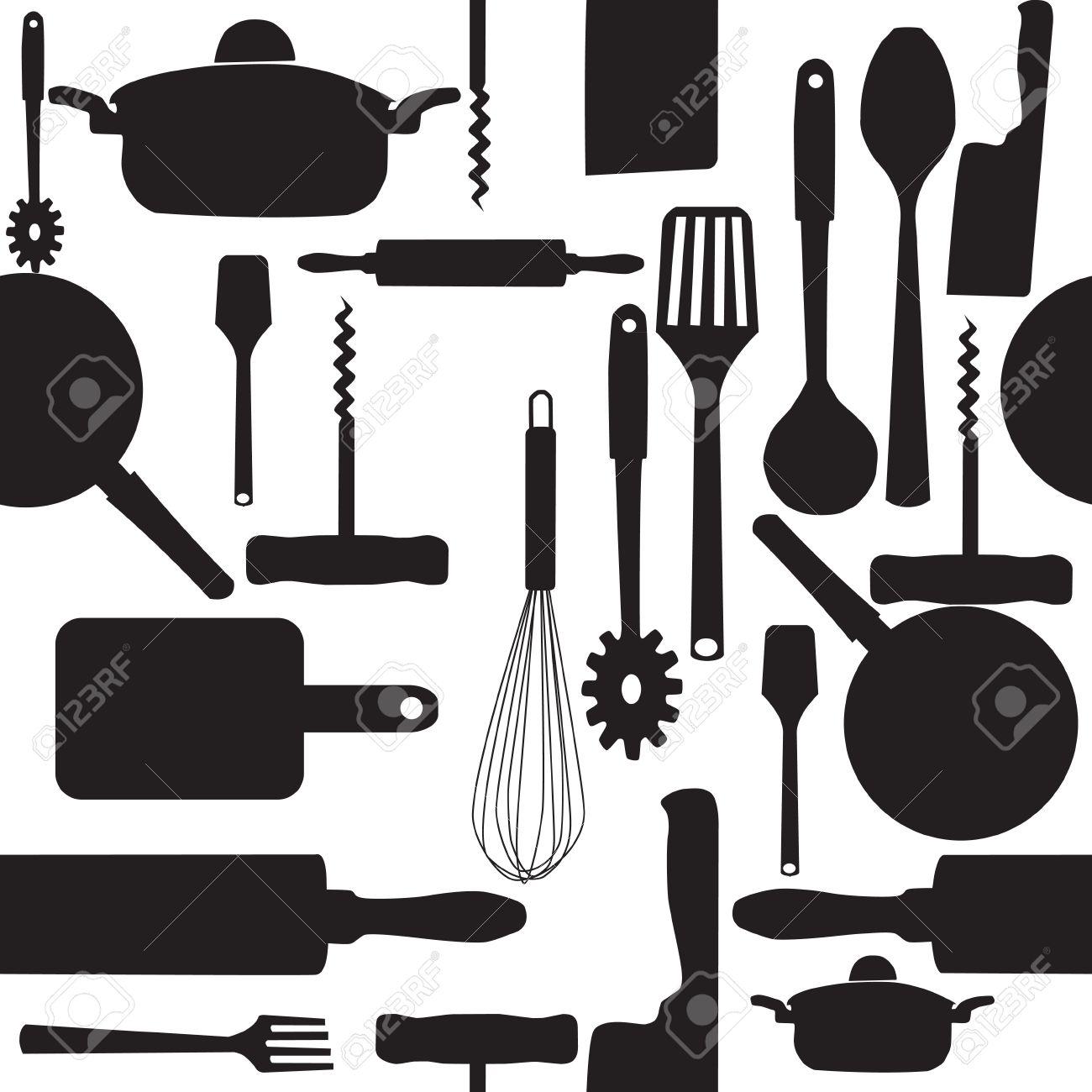 Vector Sin Patron De Utensilios De Cocina Ilustraciones Vectoriales