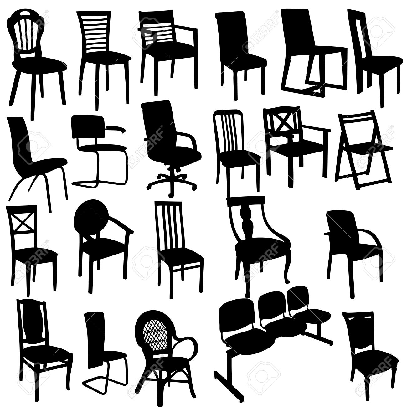 Set of Armchairs Silhouettes Stock Vector - 12303068