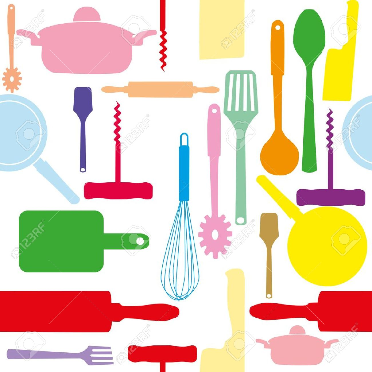 Vector Seamless Pattern Of Kitchen Tools Royalty Free Cliparts Vectors And Stock Illustration Image 12303089
