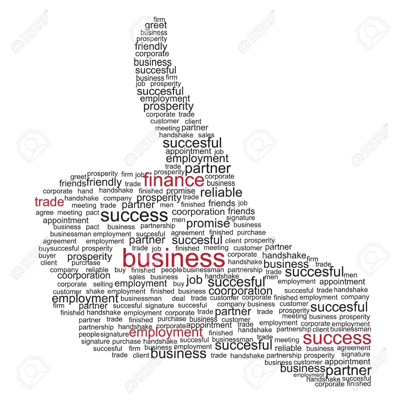 Illustration of the thumbs up symbol, which is composed of words on business themes. Vector illustration. Stock Vector - 12303176
