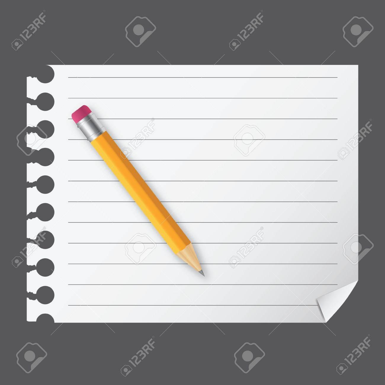 Yellow wooden pencil on a blank notepad vector illustration on business theme Stock Vector - 12303156