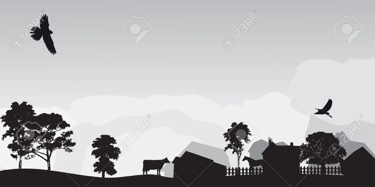 grey landscape with trees and village Stock Vector - 12303467