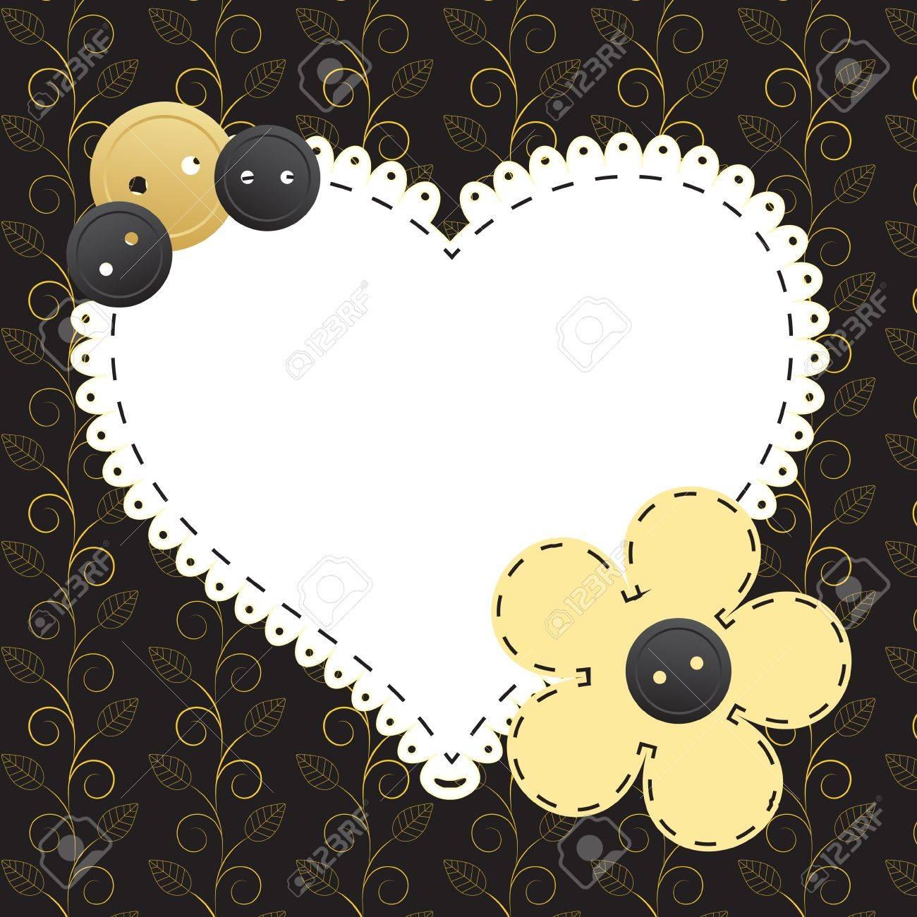 Vintage gold frame on floral  background  Vector illustration Stock Vector - 12487956