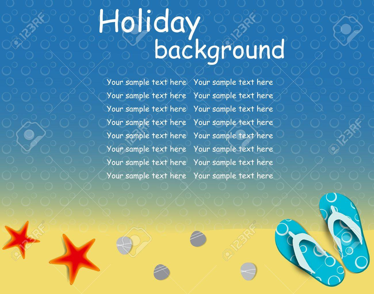 sandals and starfish at beach nature summer vector background Stock Vector - 12709968