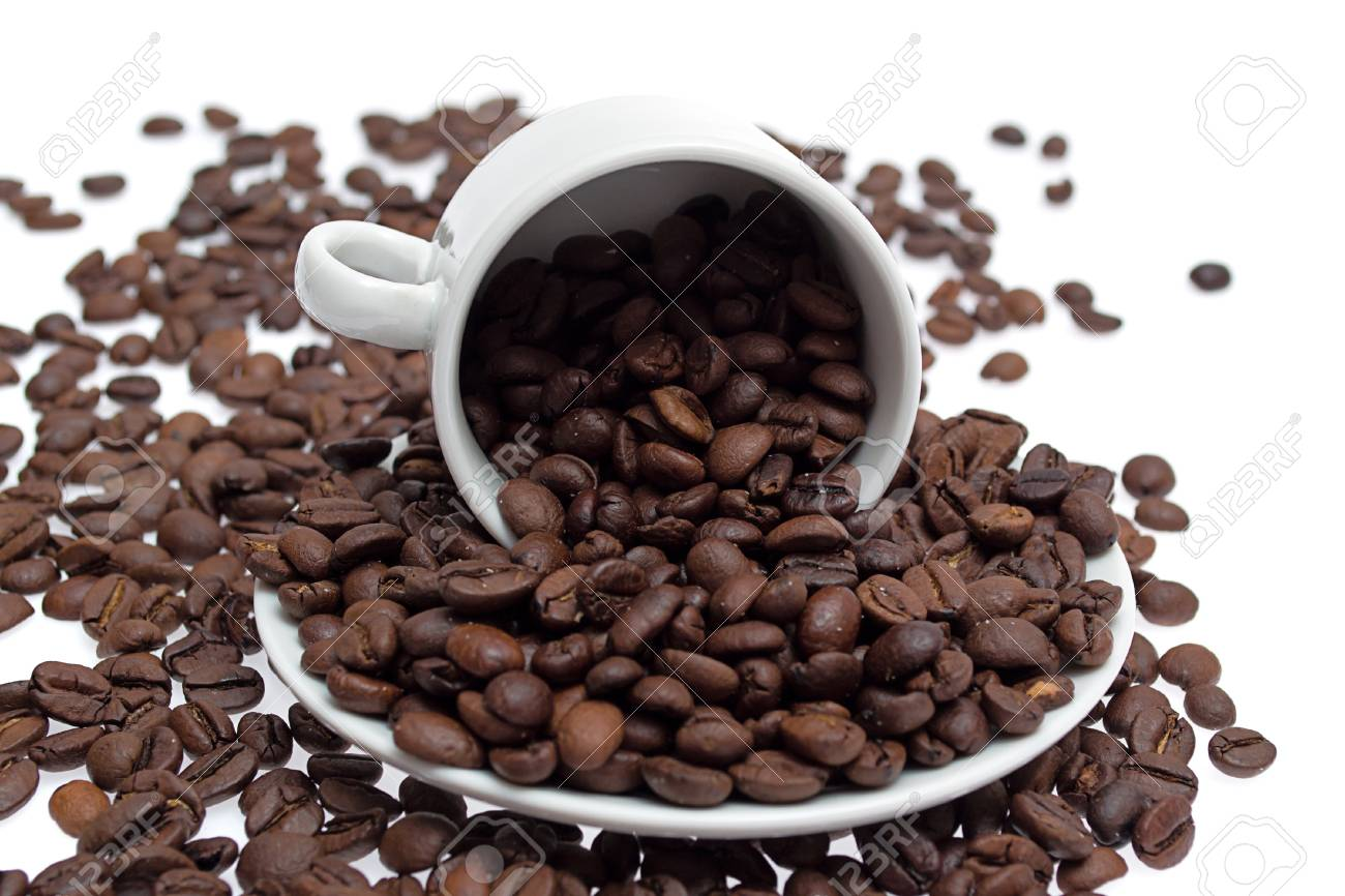 coffee beans in a cup isolated on white background Stock Photo - 12833360