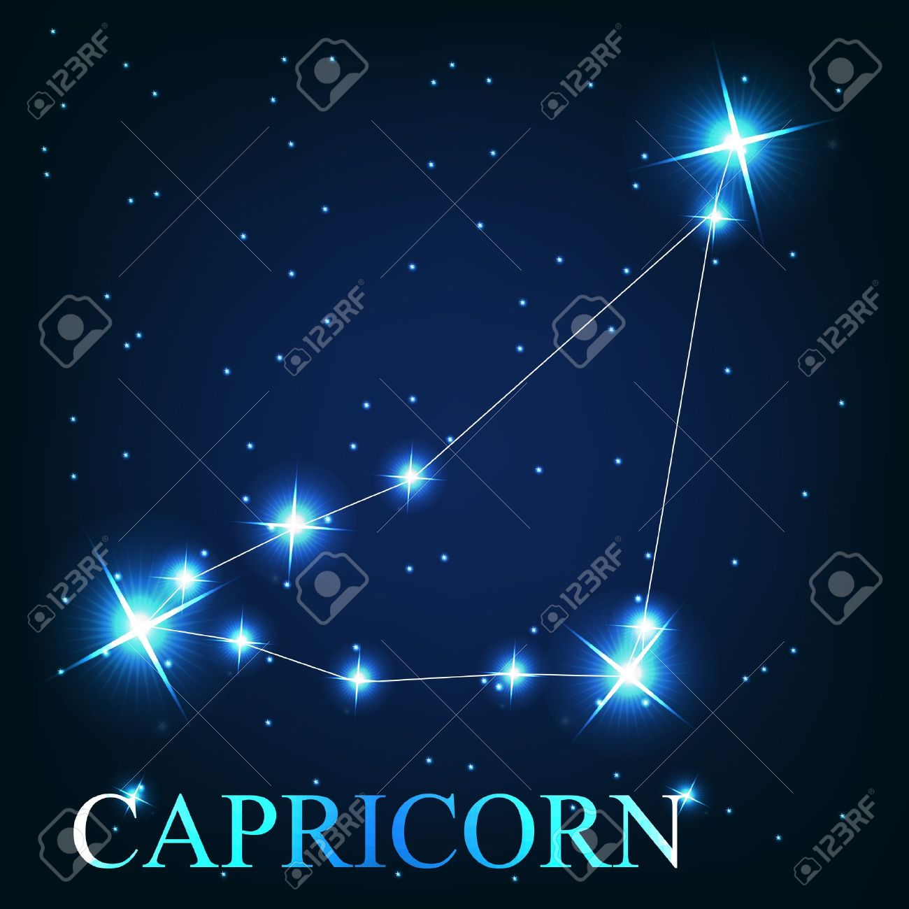 Vector Of The Capricorn Zodiac Sign Of The Beautiful Bright Stars