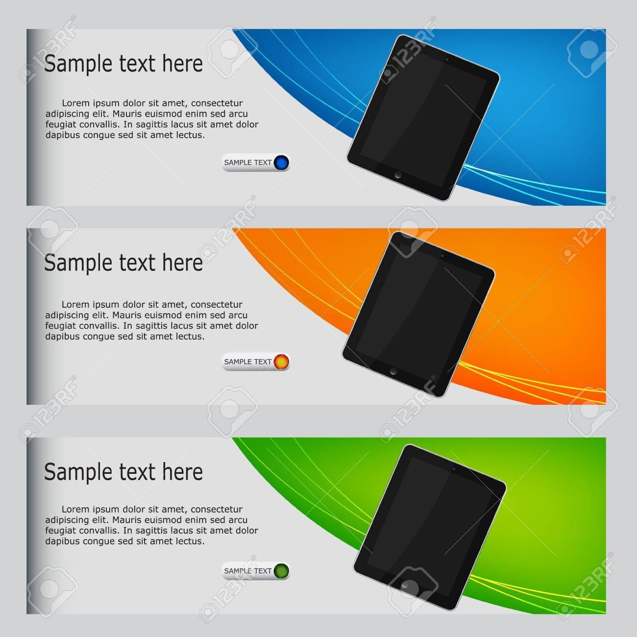 vector website headers, tablet promotion banners - 13008364