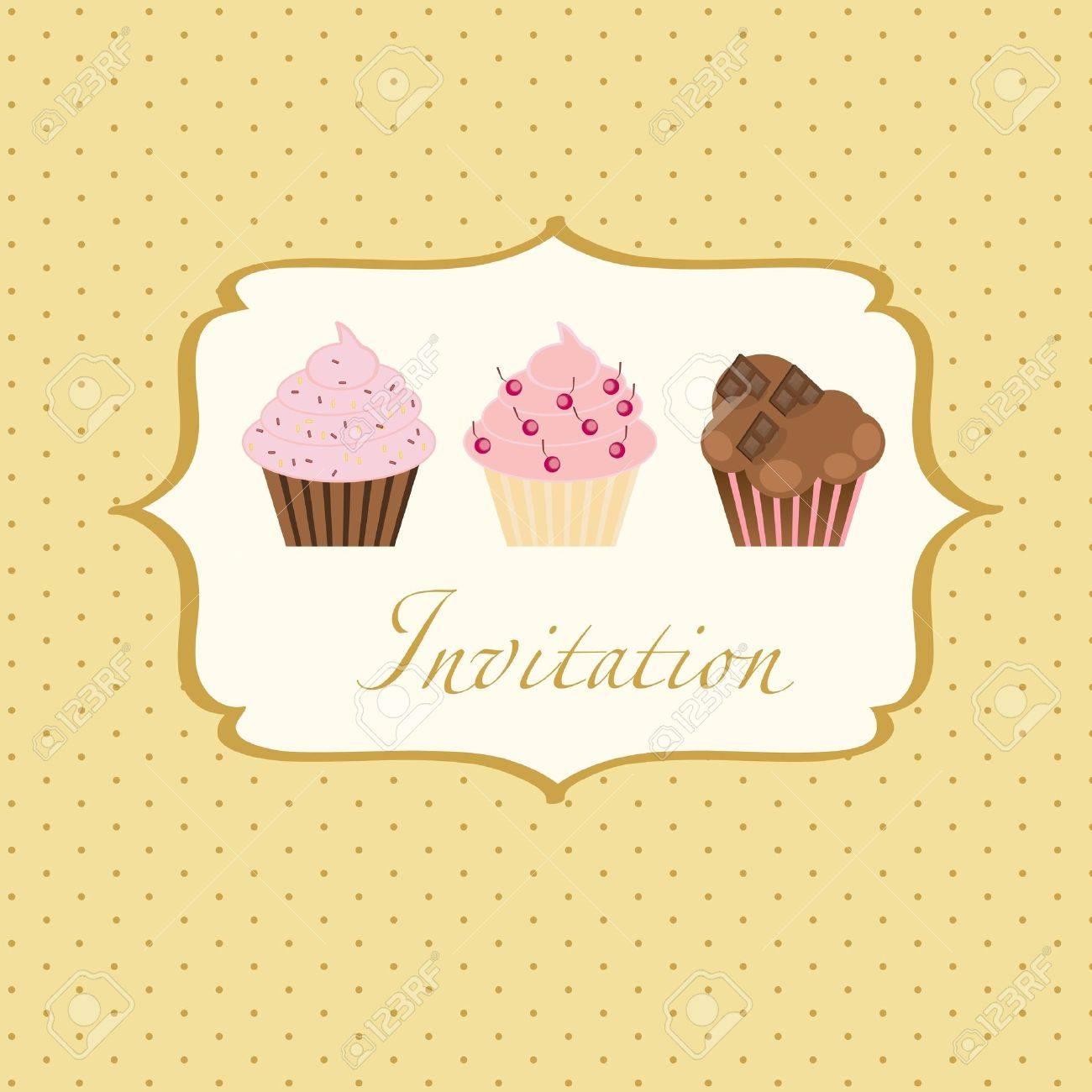 cupcake invitation background Stock Vector - 13101463