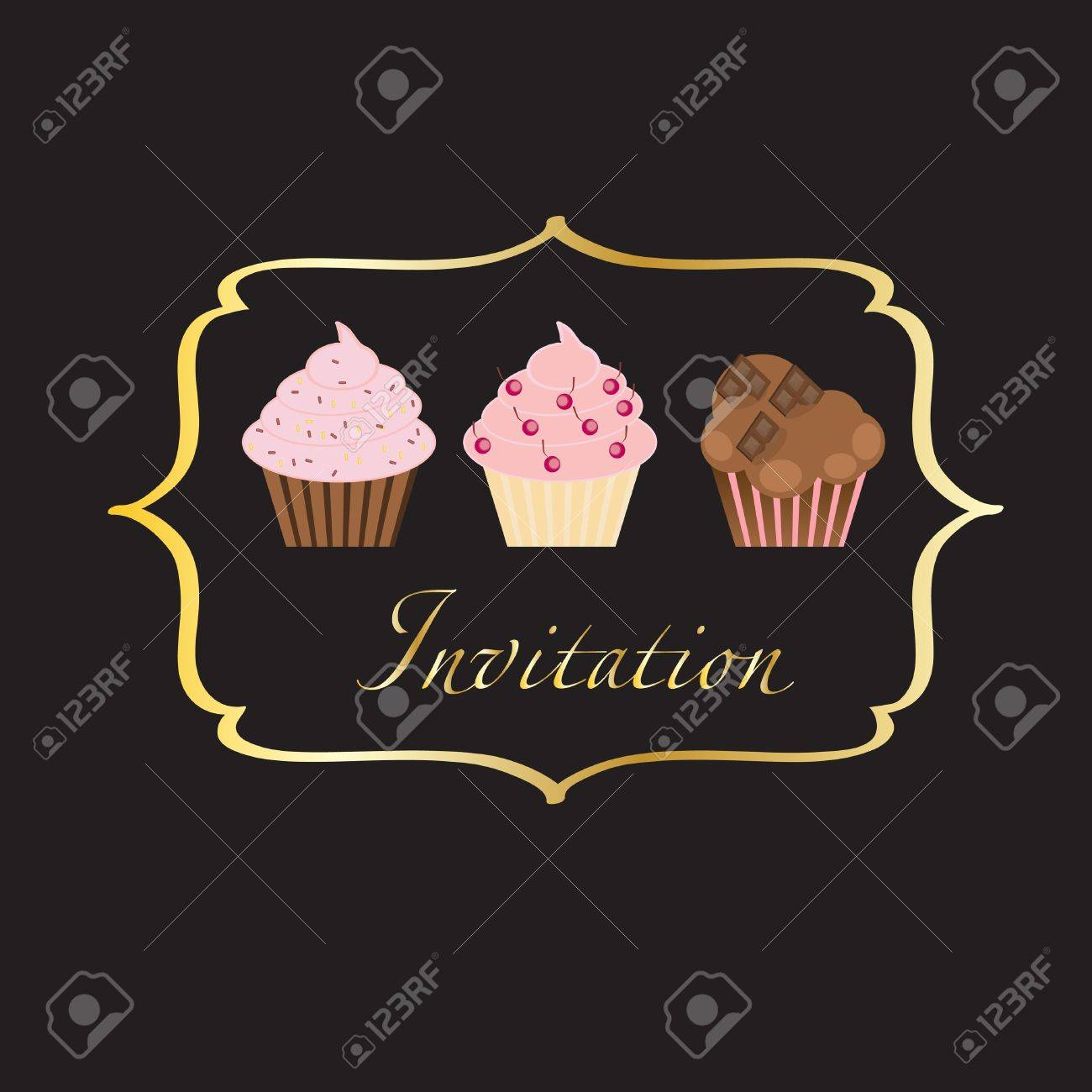 cupcake invitation background Stock Vector - 13101445