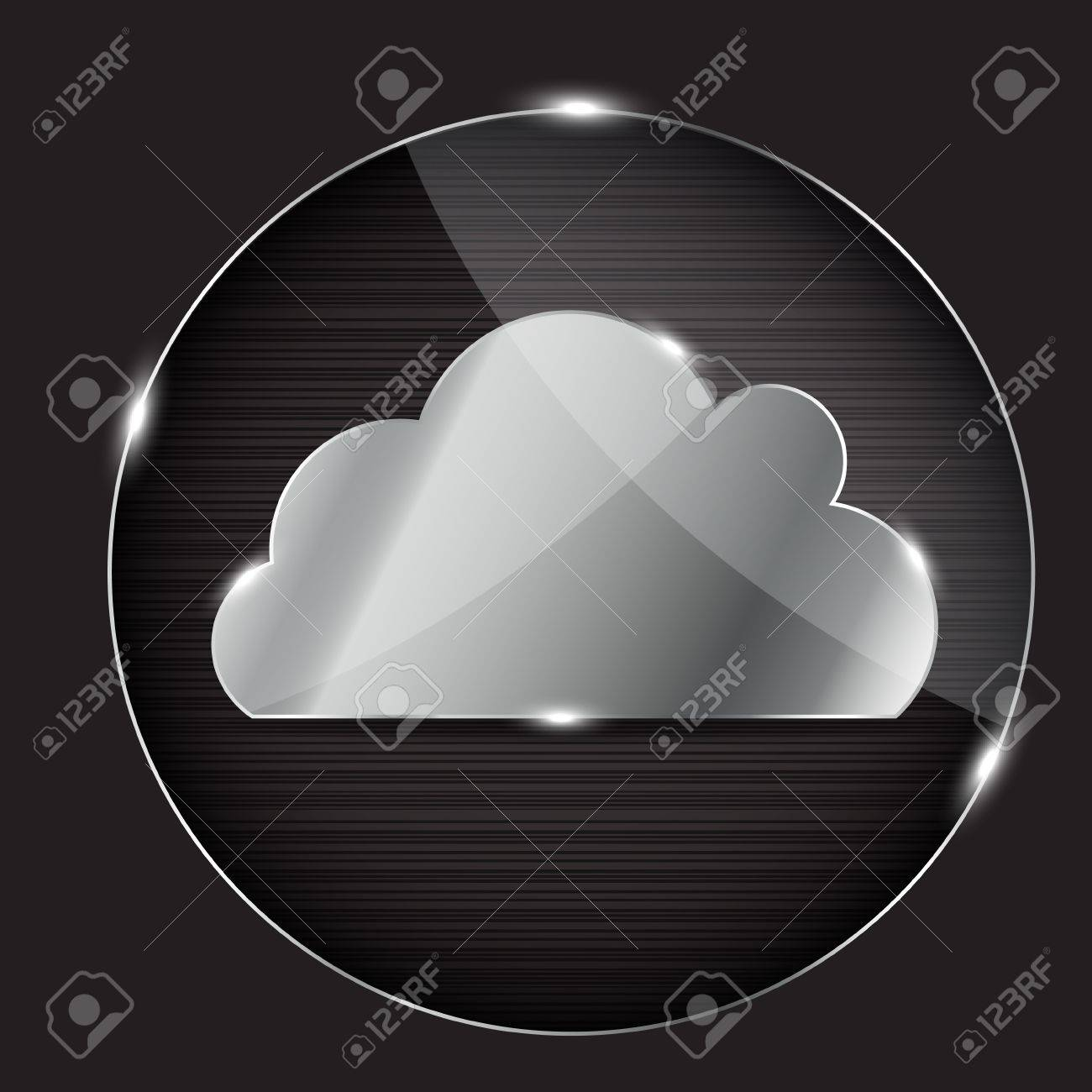 Vector glass button with cloud icon Stock Vector - 13549190