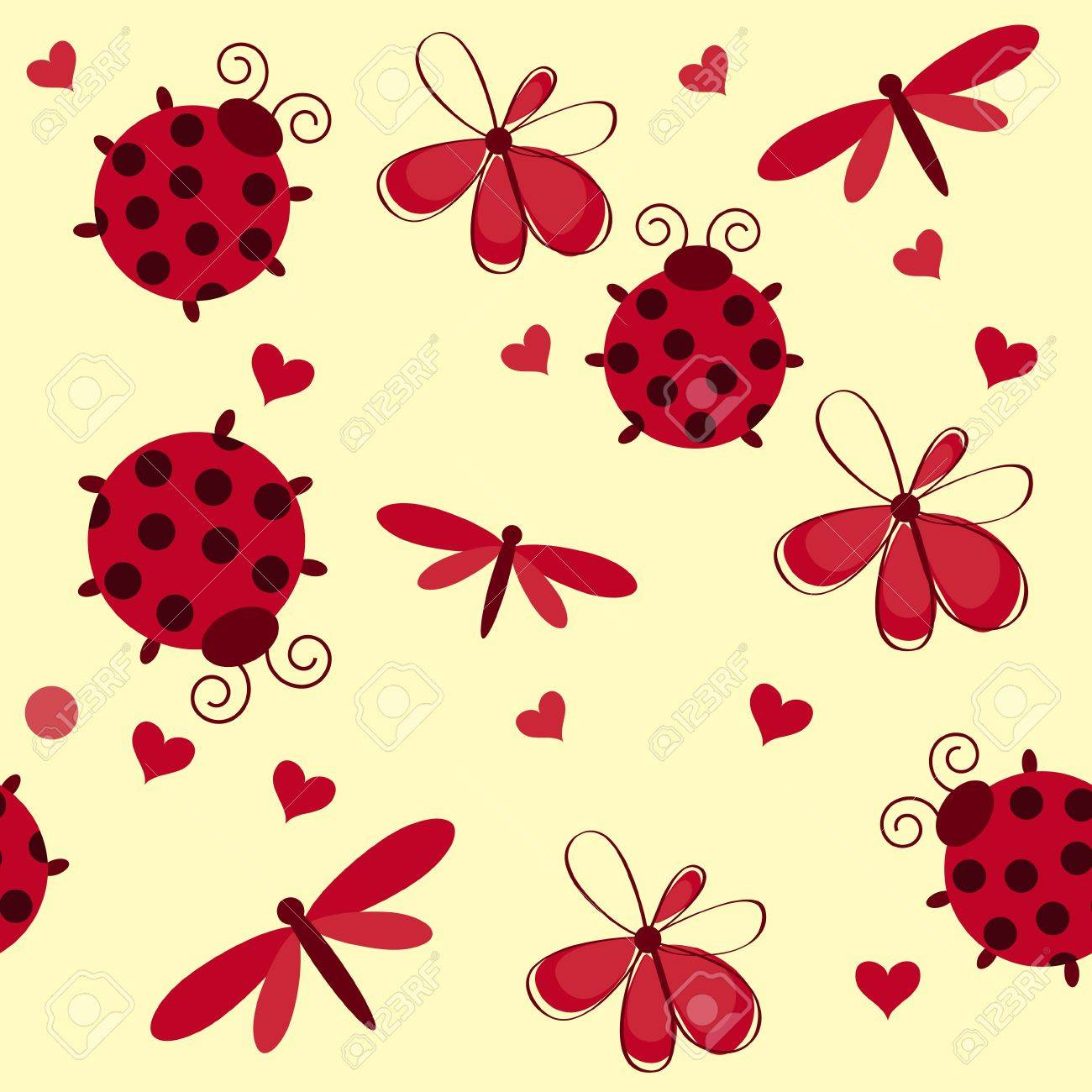 Romantic seamless pattern with dragonflies, ladybugs, hearts and flowers on a white background Stock Vector - 13758524