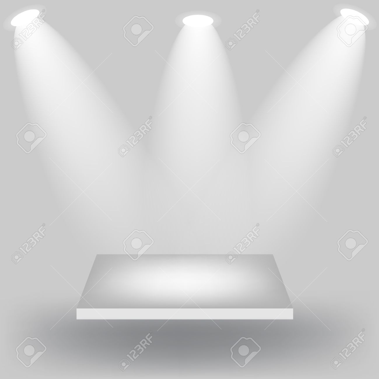Empty white shelves on light grey background Stock Vector - 13810750