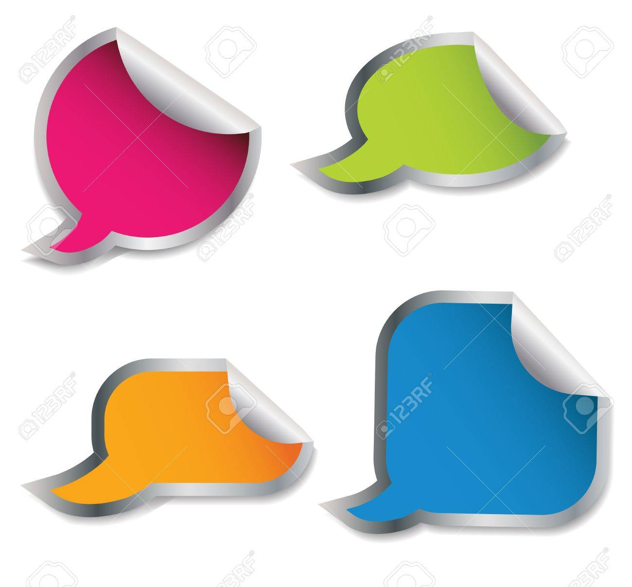 Set of colorful speech bubble stickers different corner and place for your text Stock Vector - 13810757
