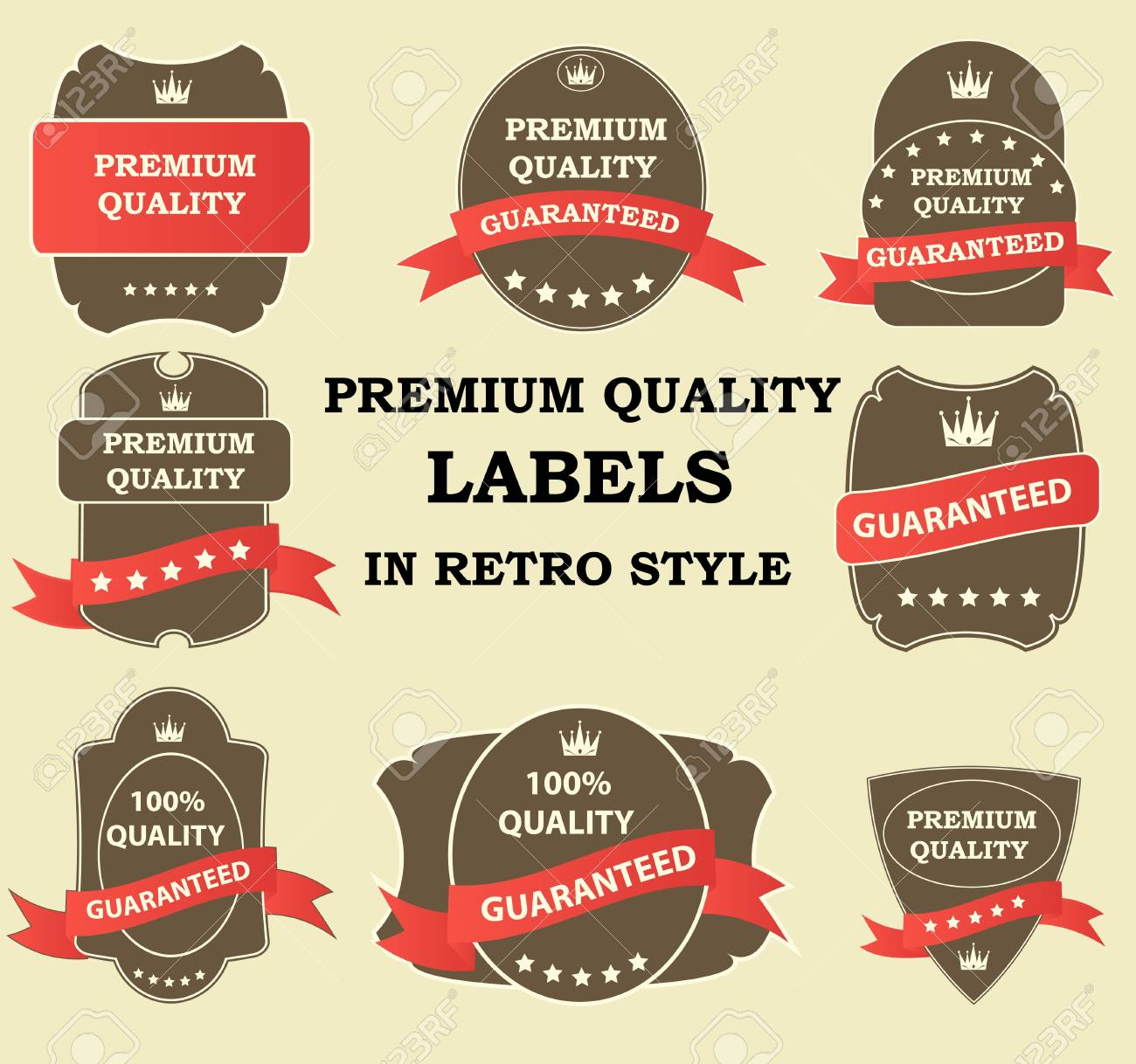 Quality Labels in retro vintage design Stock Vector - 13810741