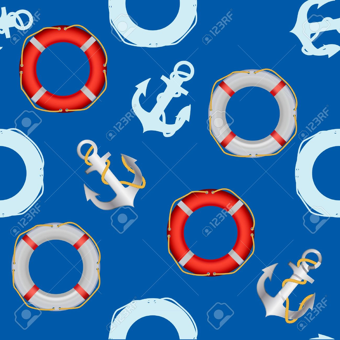 Anchor stencil  and lifebuoy seamless pattern  maritime theme Stock Vector - 13845330