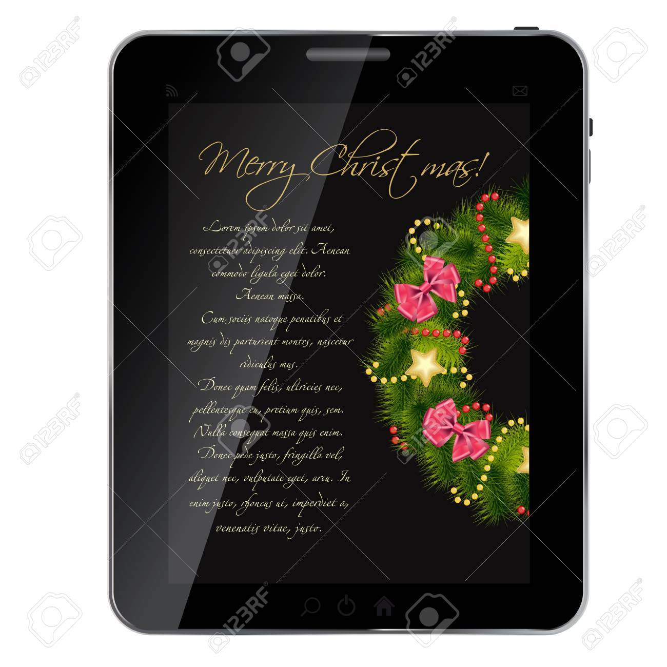 Realistic Christmas wreath on vintage background at abstract desig tablet. vector illustration Stock Vector - 14310042