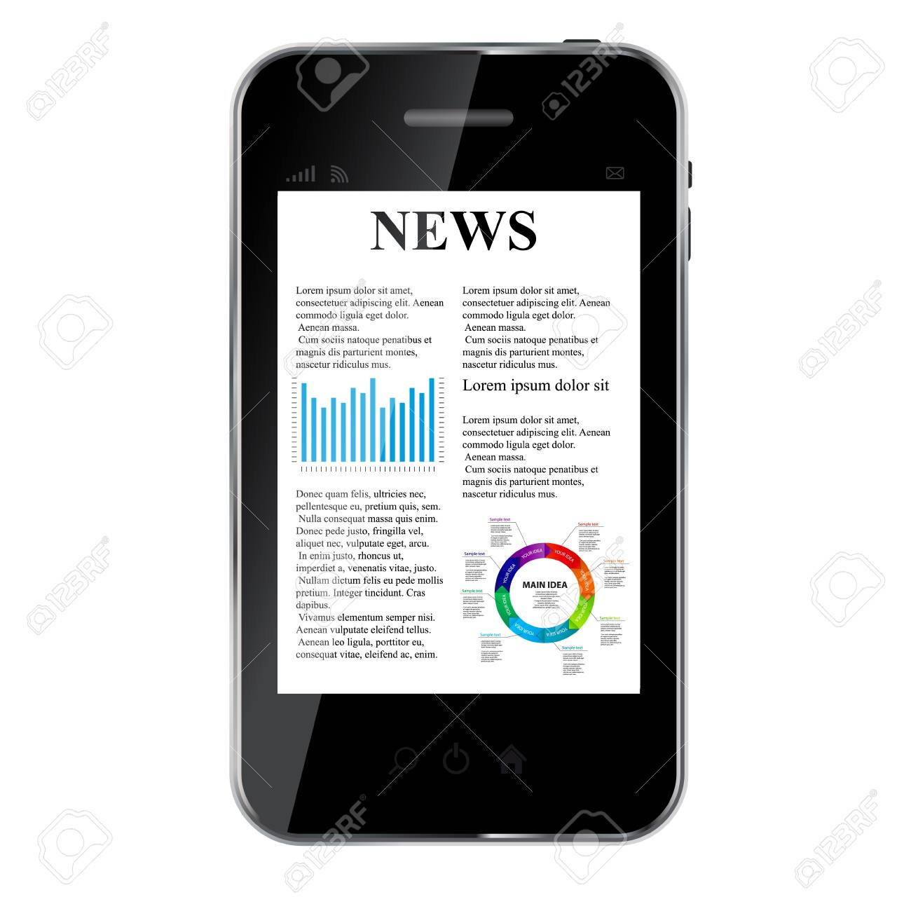 Abstract design mobile phone with news concept Stock Vector - 14553617