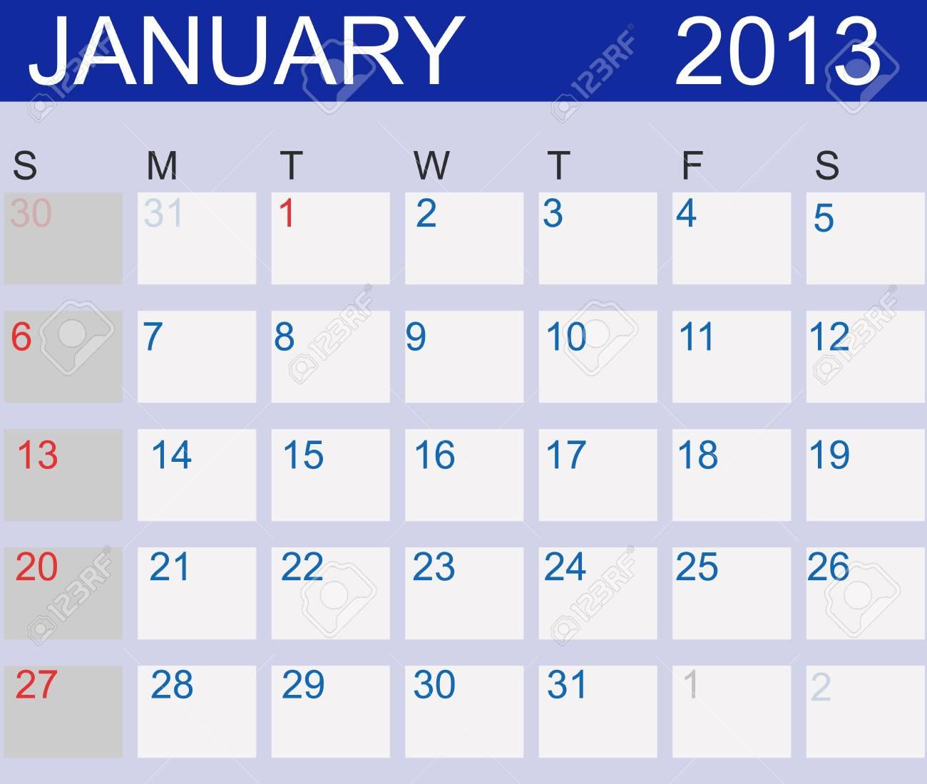 Calendar 2013. January. Stock Vector - 15190475