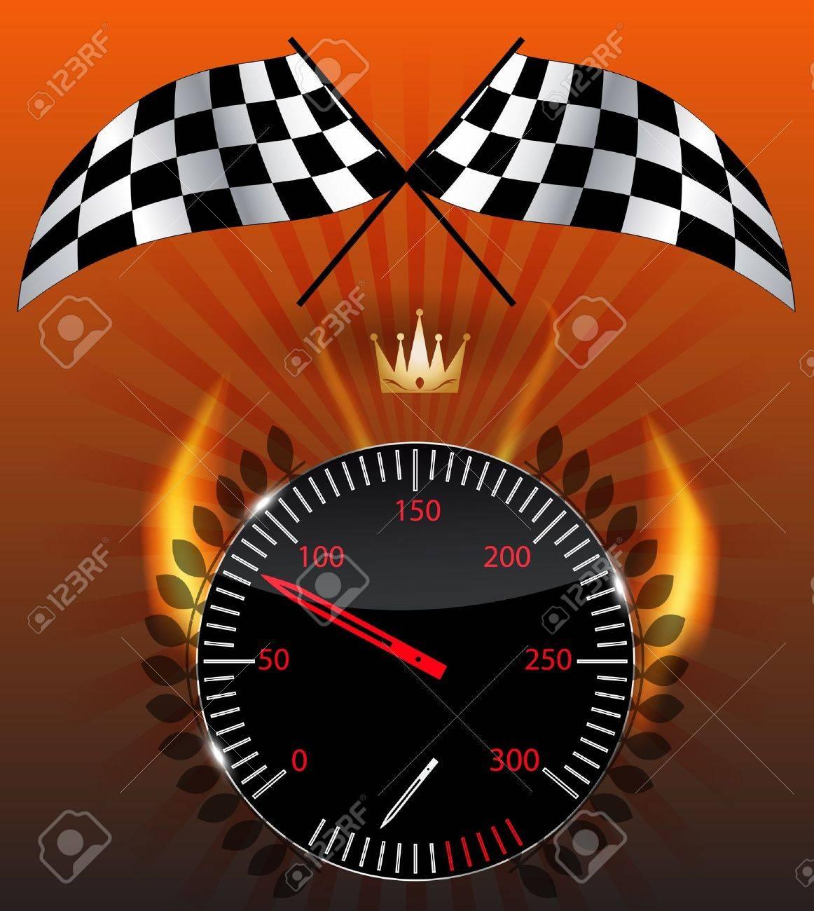Checkered flag, speedometer Stock Vector - 15117293