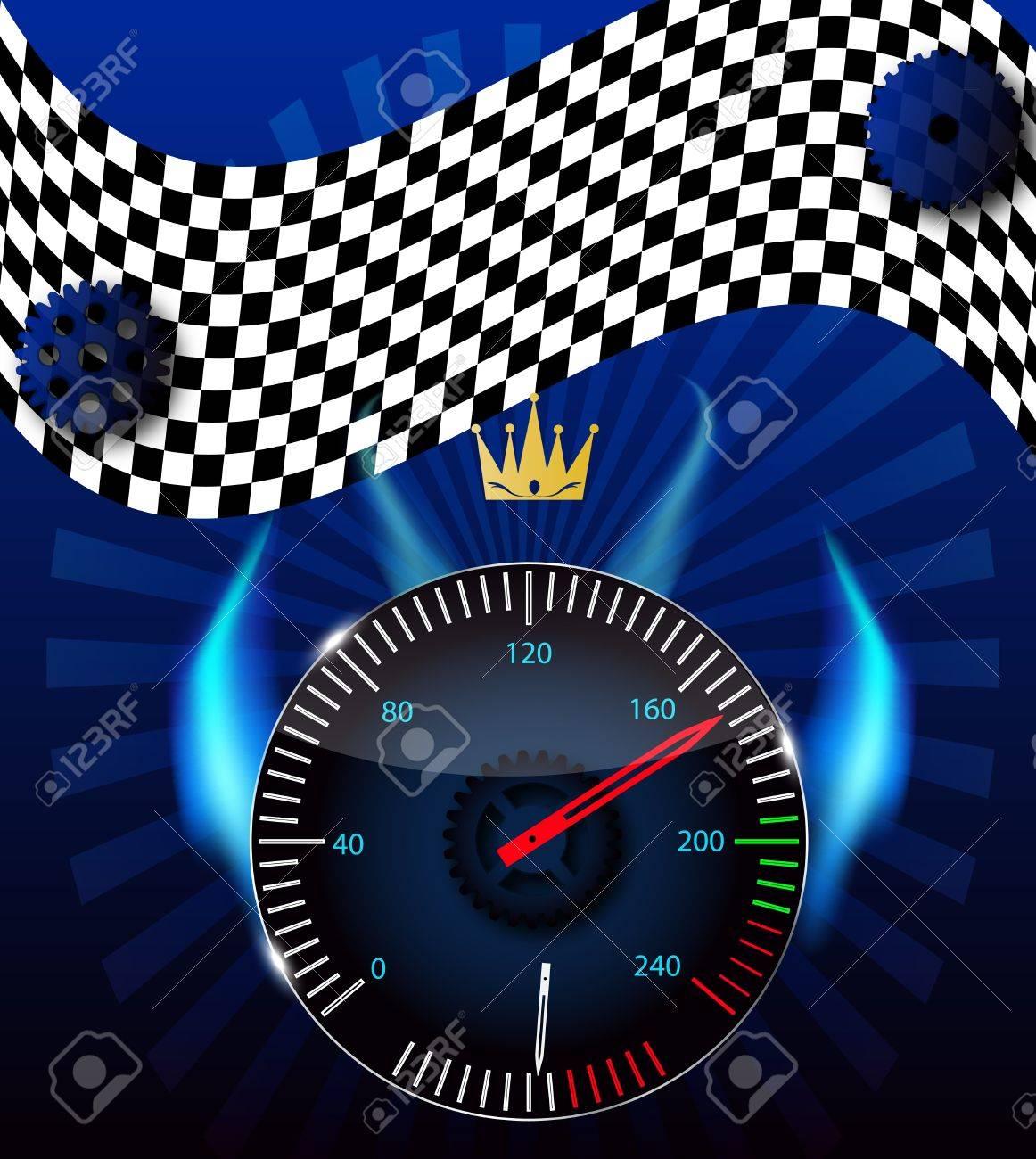 Checkered flag, speedometer Stock Vector - 15117338