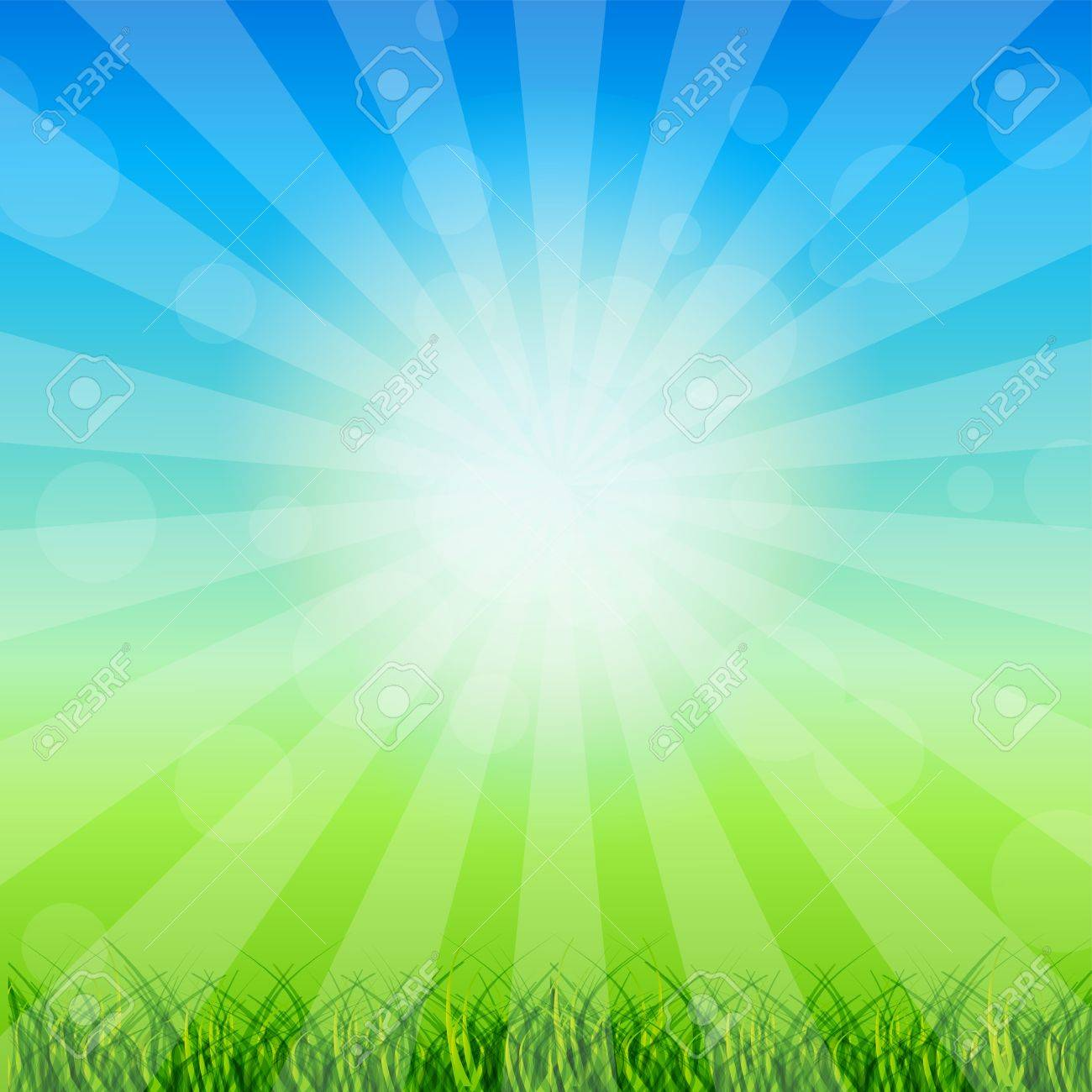 Summer Abstract Background with grass and chamomile against sunny sky  Vector illustration Stock Vector - 15282338