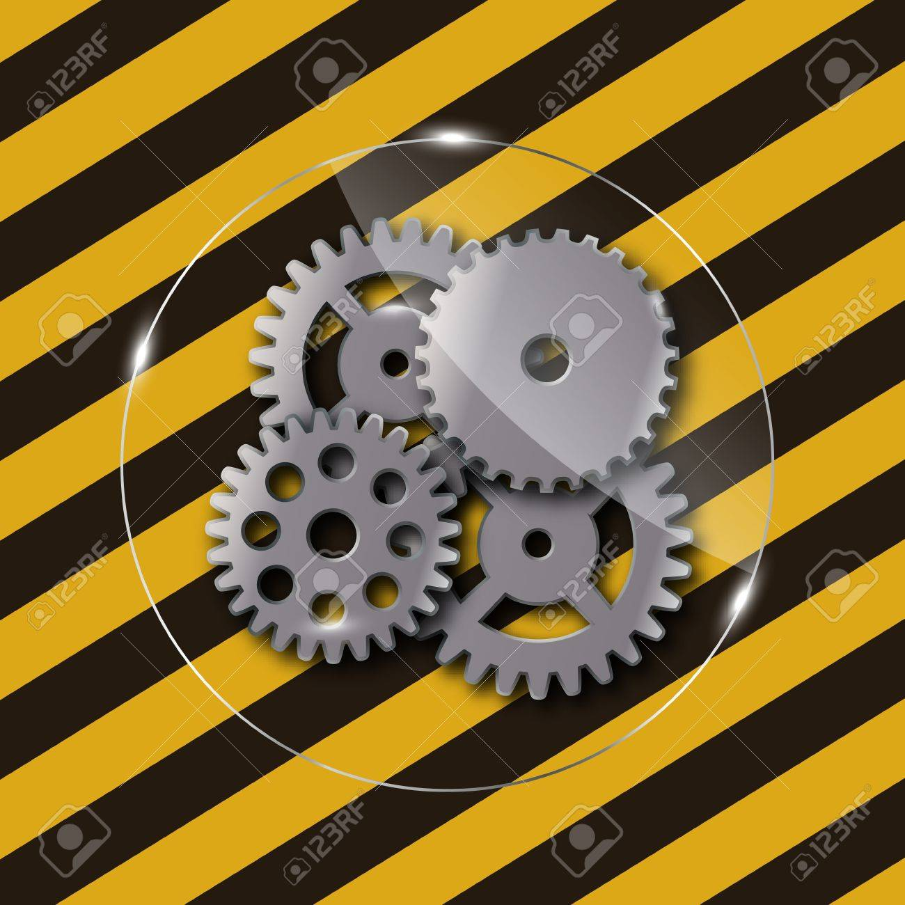 Metal frame on grunge striped construction background ill Stock Photo - 15736256