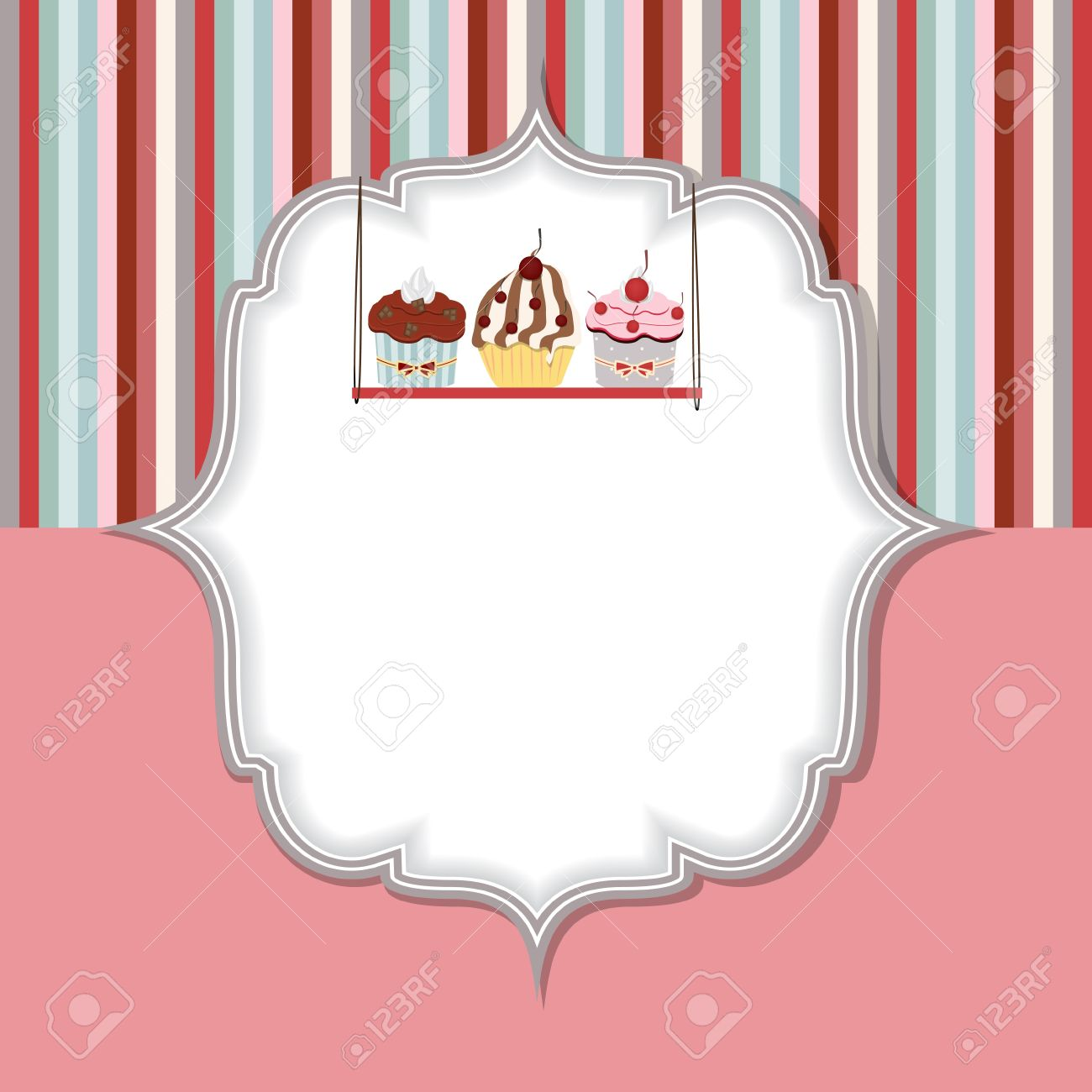 cupcake invitation card vector illustration royalty free cliparts