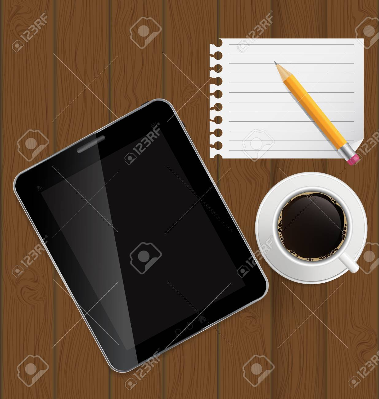 Abstract design tablet, coffee, pencil, blank page on boards Bac Stock Vector - 16629865