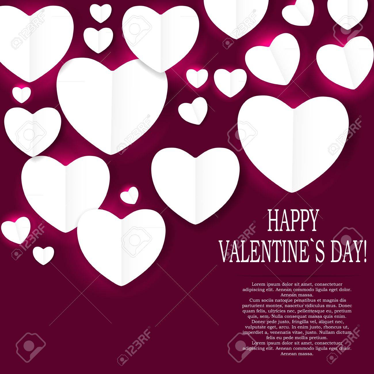 Valentines day paper heart backgroung, vector illustration Stock Vector - 17215939