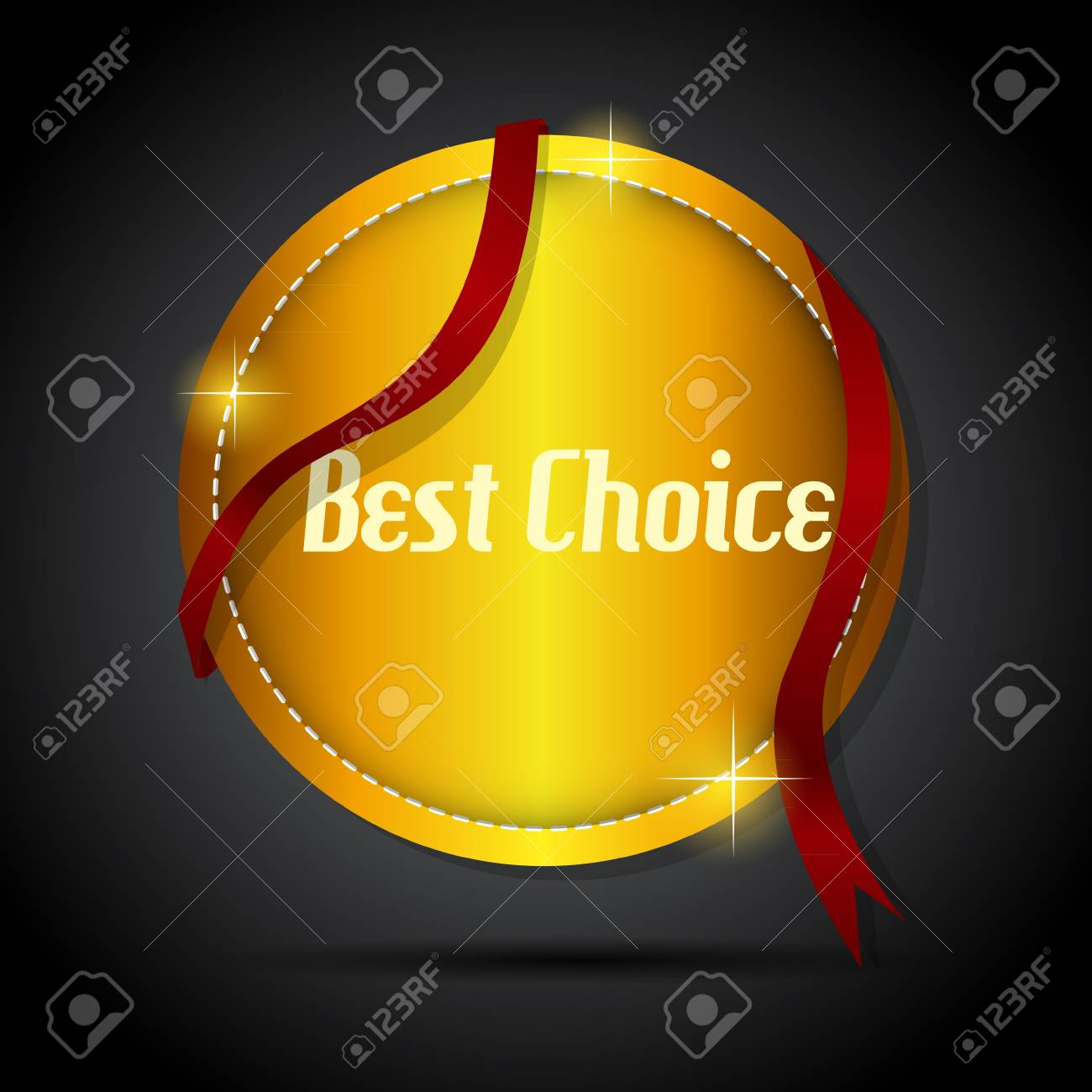 best choice  label with red ribbon Stock Vector - 17361210