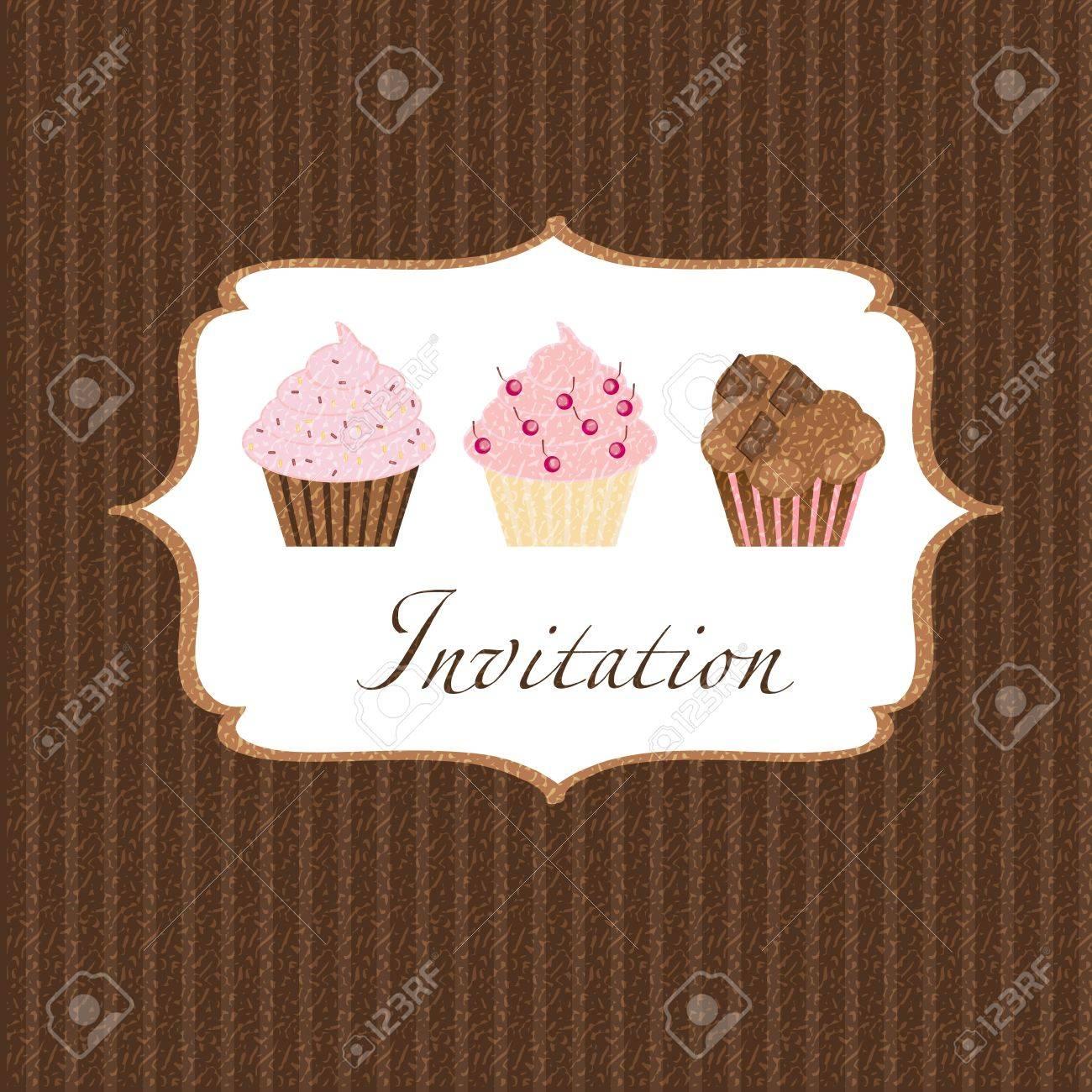 cupcake invitation background Stock Photo - 17539425