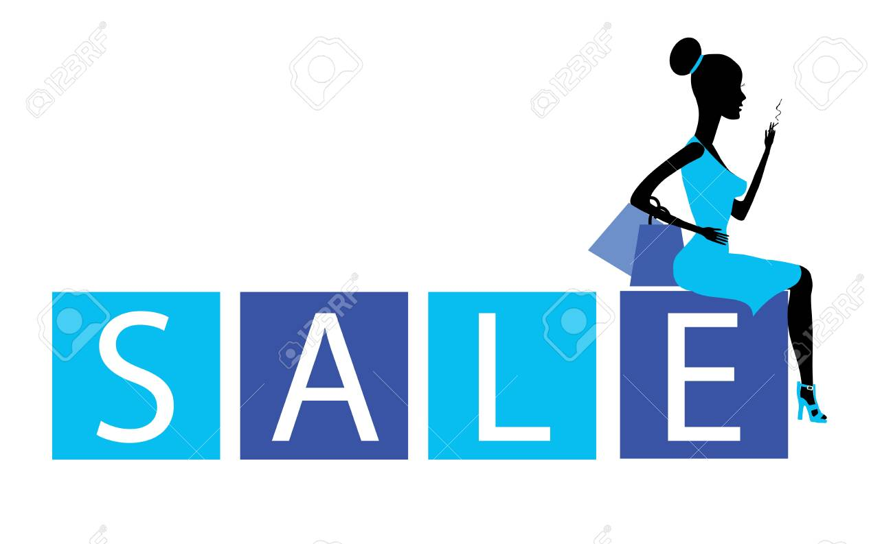 big sale concept with a beautiful girl in vector Stock Vector - 17924922