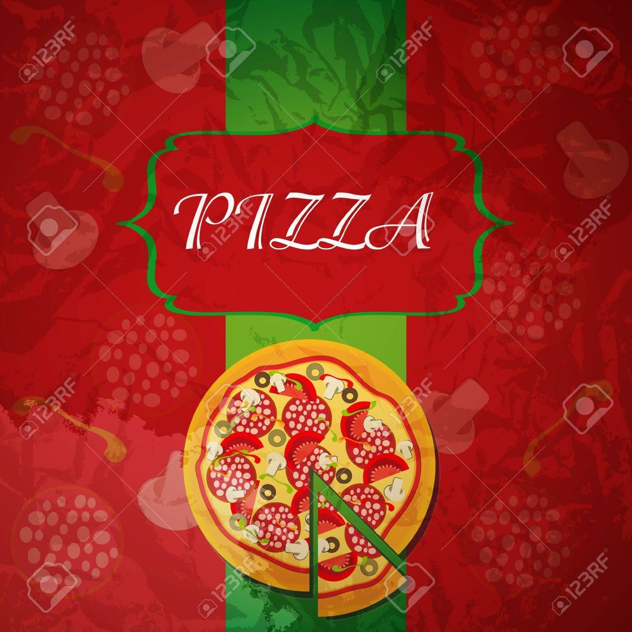 Pizza De Plantillas De Menú, Ilustración Vectorial Fotos, Retratos ...