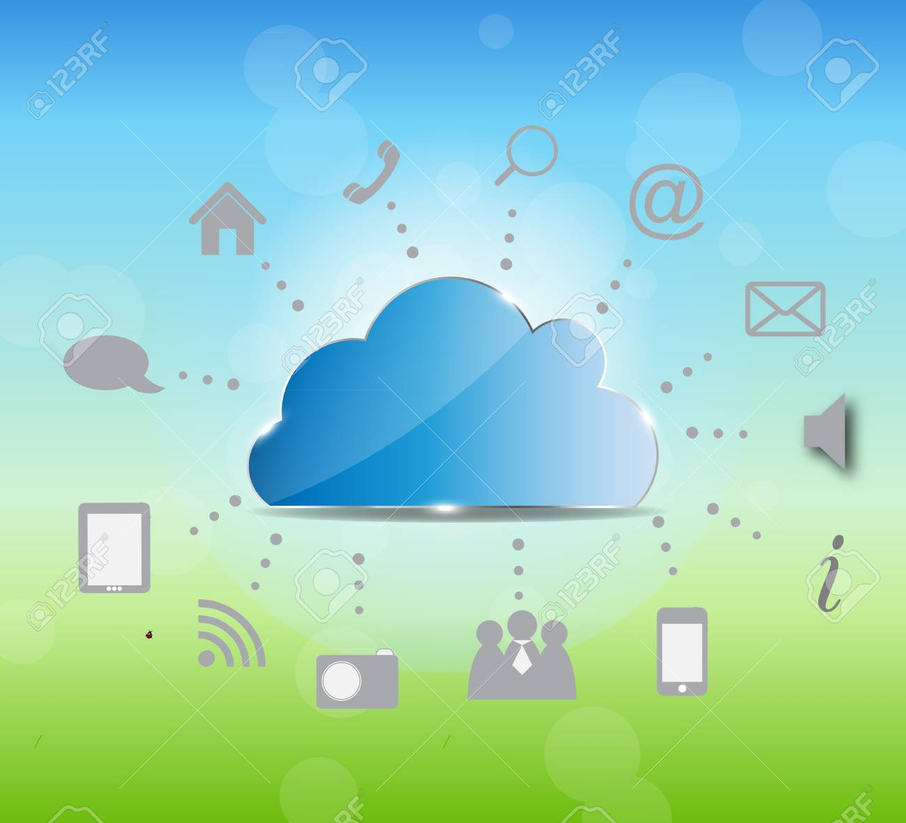 Cloud computing illustration on nature background Stock Vector - 19498260