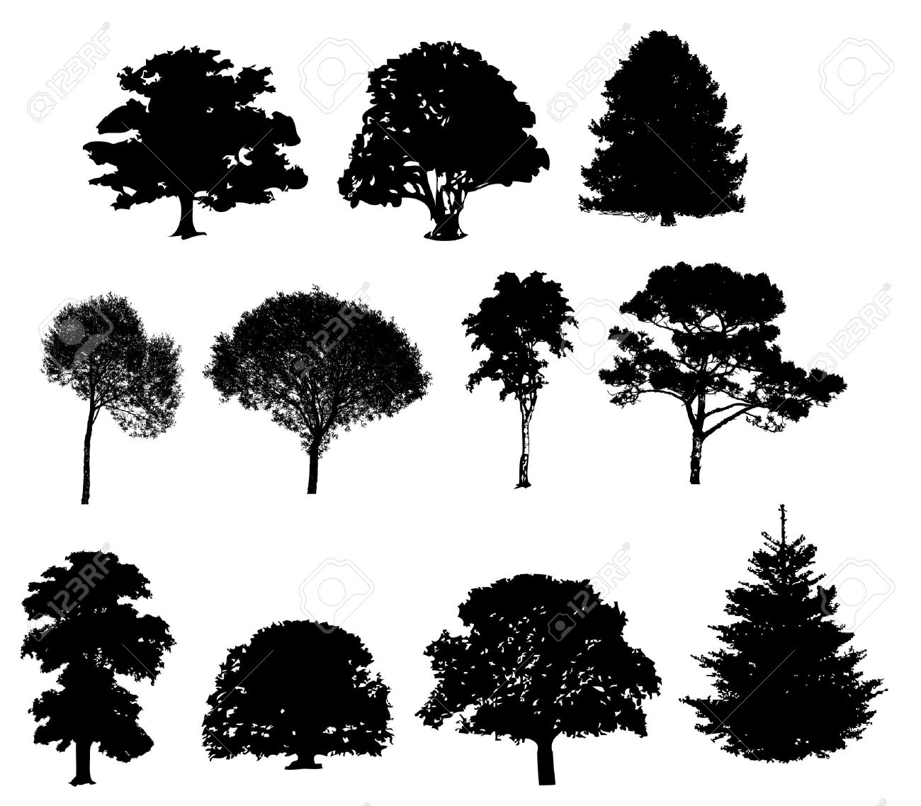 Vector Illustration Of Tree Silhouettes Royalty Free Cliparts ...