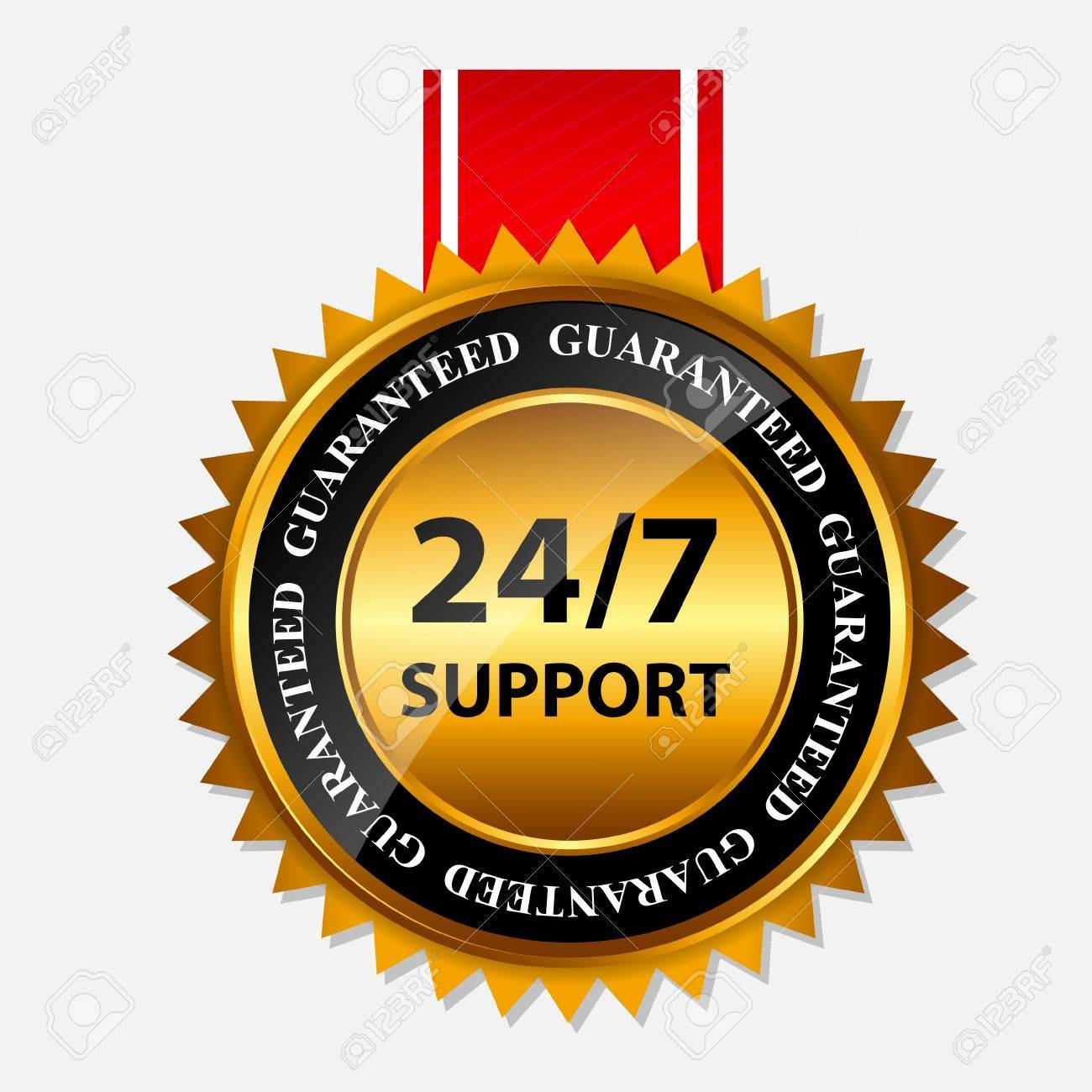 Vector 24 7 SUPPORT gold sign, label template Stock Vector - 20227975