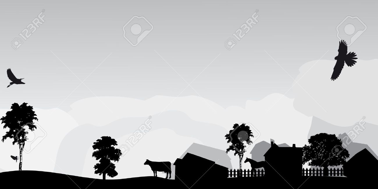 grey landscape with trees and village Stock Vector - 22149074