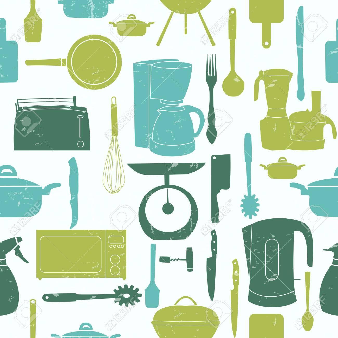 Grunge Retro Vector Illustration Seamless Pattern Of Kitchen ...