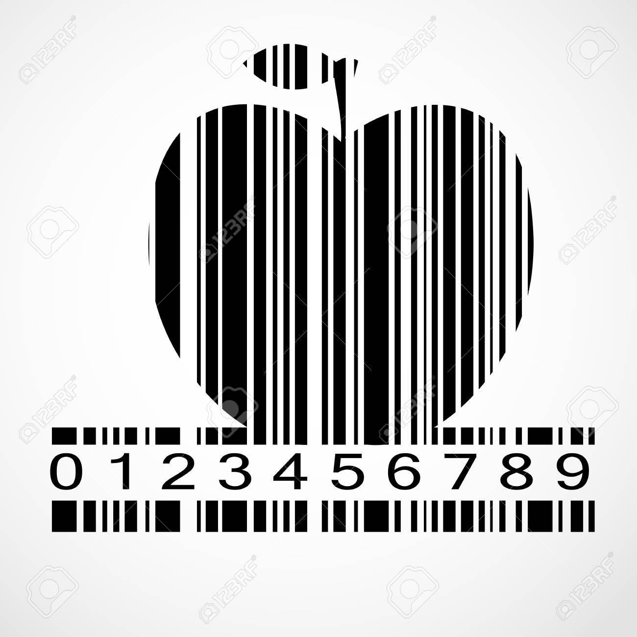 black barcode apple image vector illustration eps10 royalty free