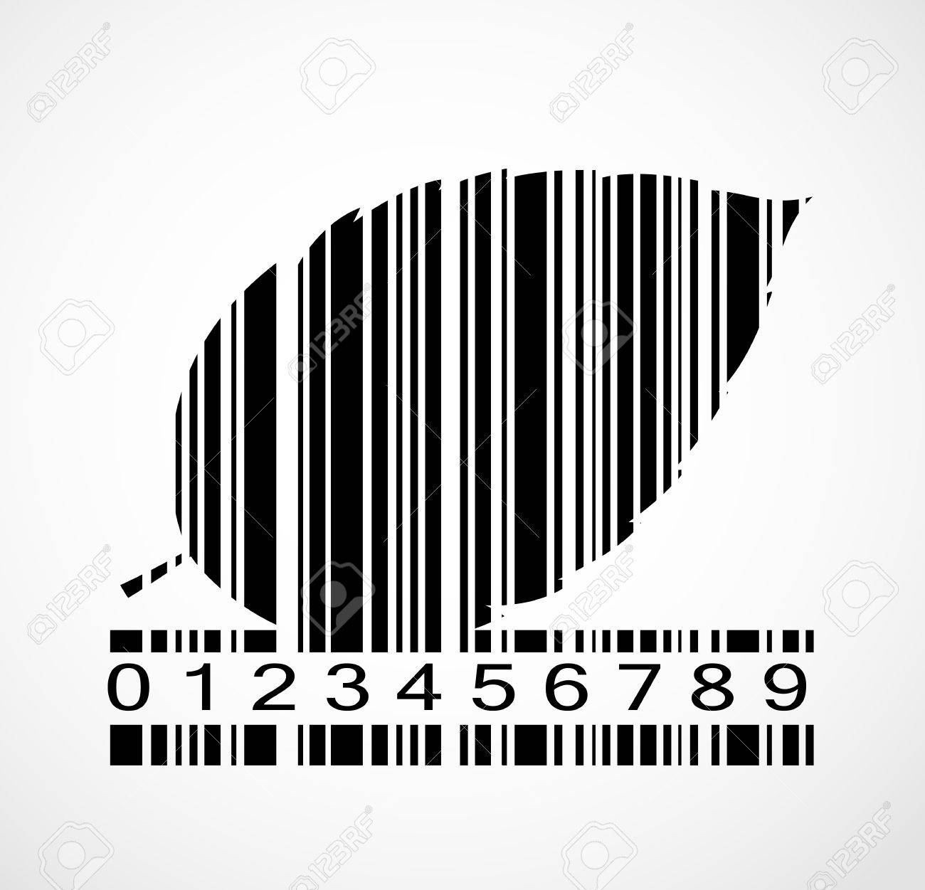 barcode autumn leaf image vector illustration eps10 royalty free