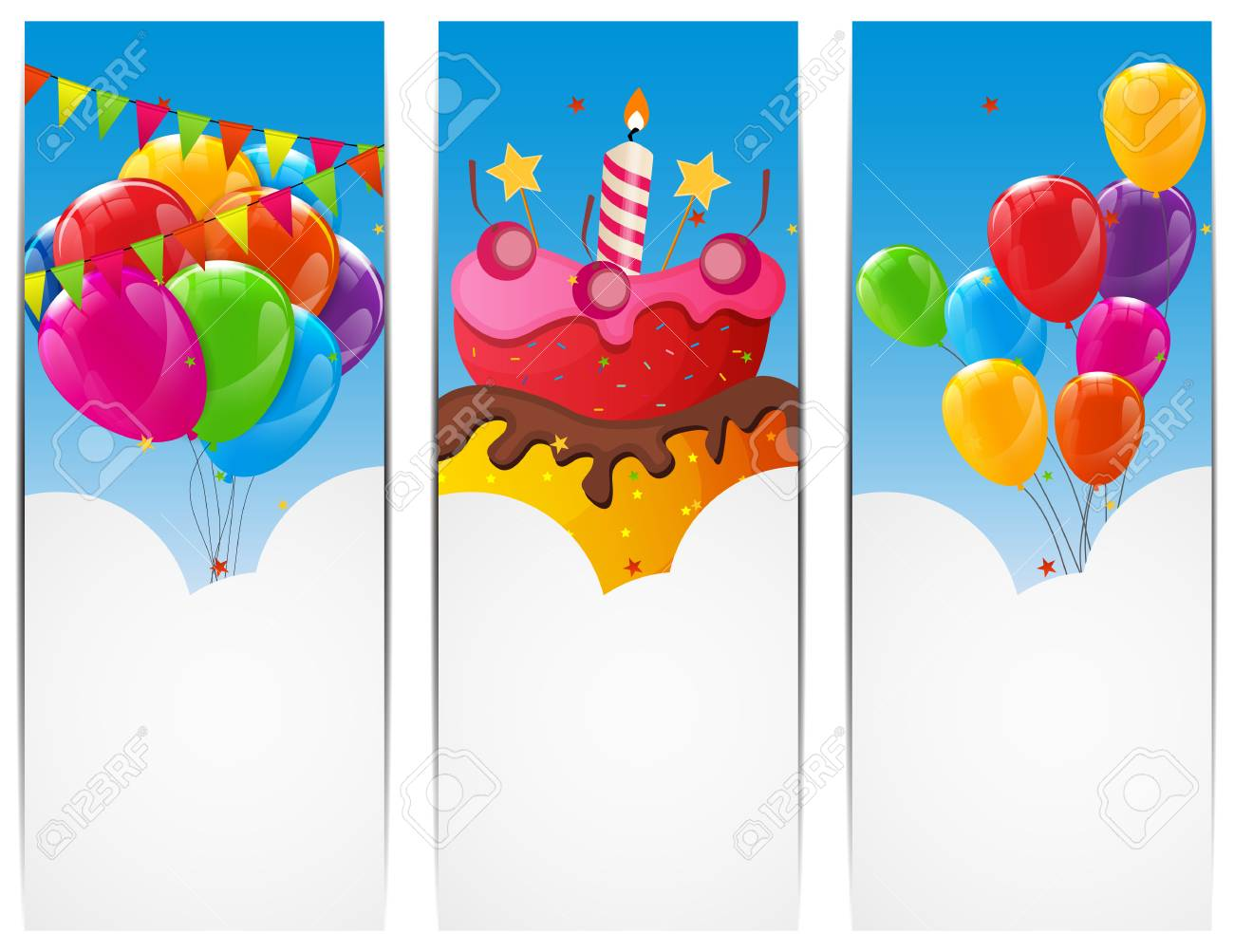 Color Glossy Happy Birthday Balloons And Cake Banner Background Vector Illustration EPS10 Stock